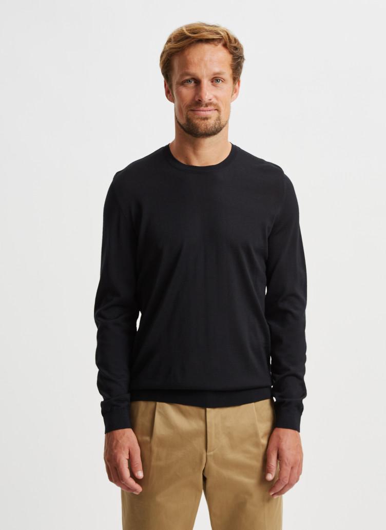 Pullover Rundhals 1/1 Arm, Black Frontansicht