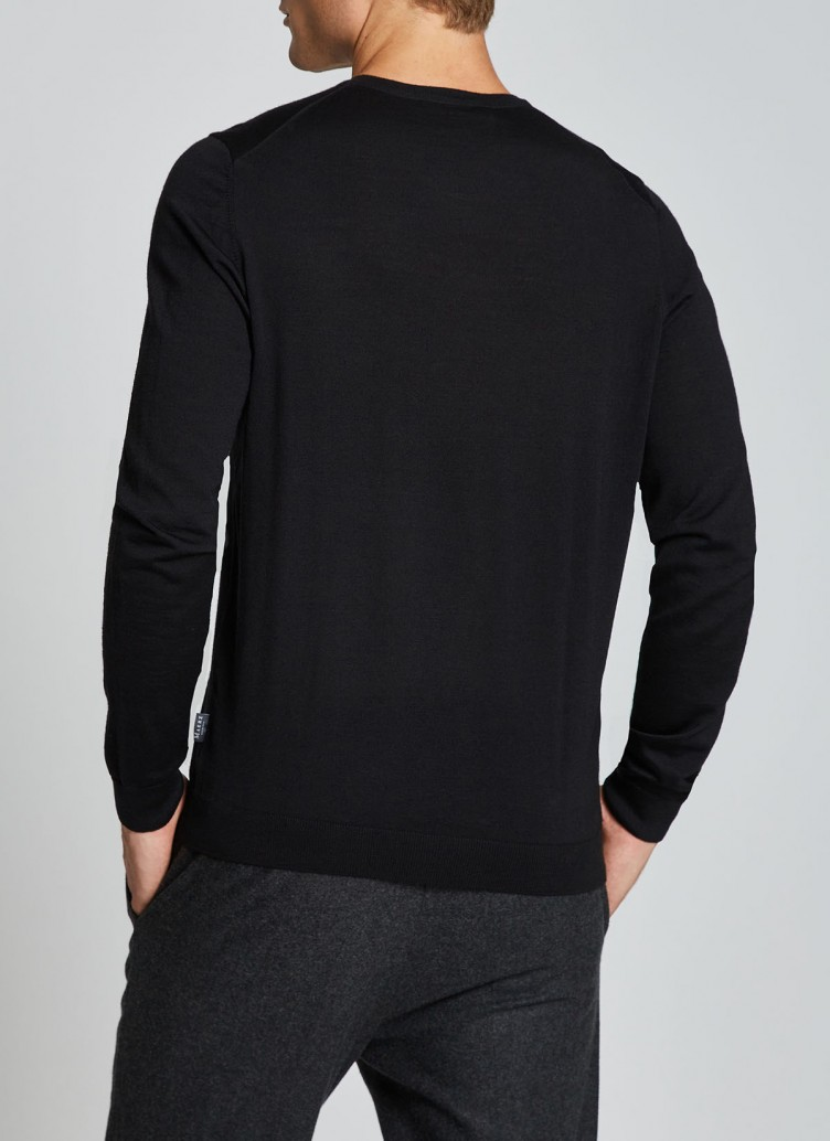 Pullover Rundhals 1/1 Arm, Black Rückansicht