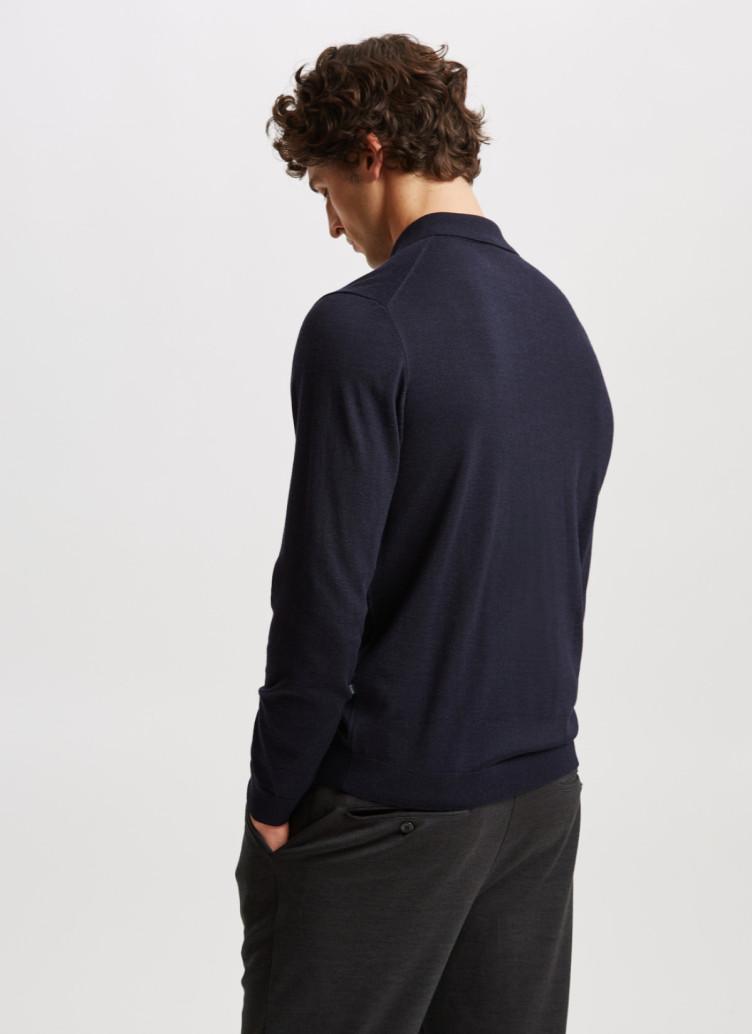 Pullover Polokragen, Knopf 1/1 Arm, Navy Rückansicht