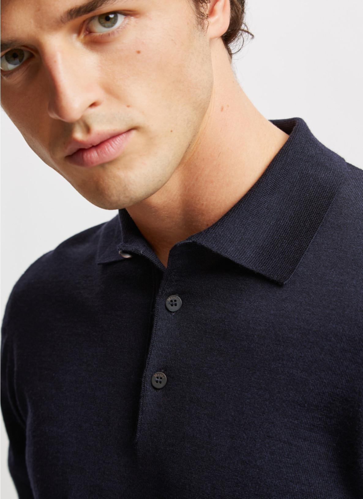 Pullover Polokragen, Knopf 1/1 Arm, NavyDetailansicht 1