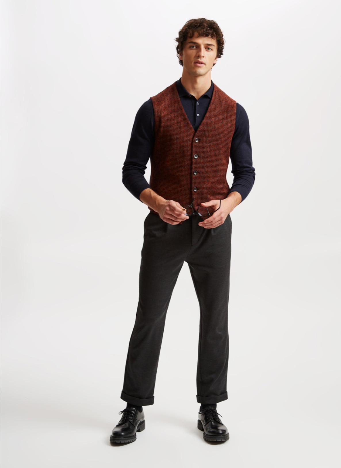 Pullover Polokragen, Knopf 1/1 Arm, NavyDetailansicht 2