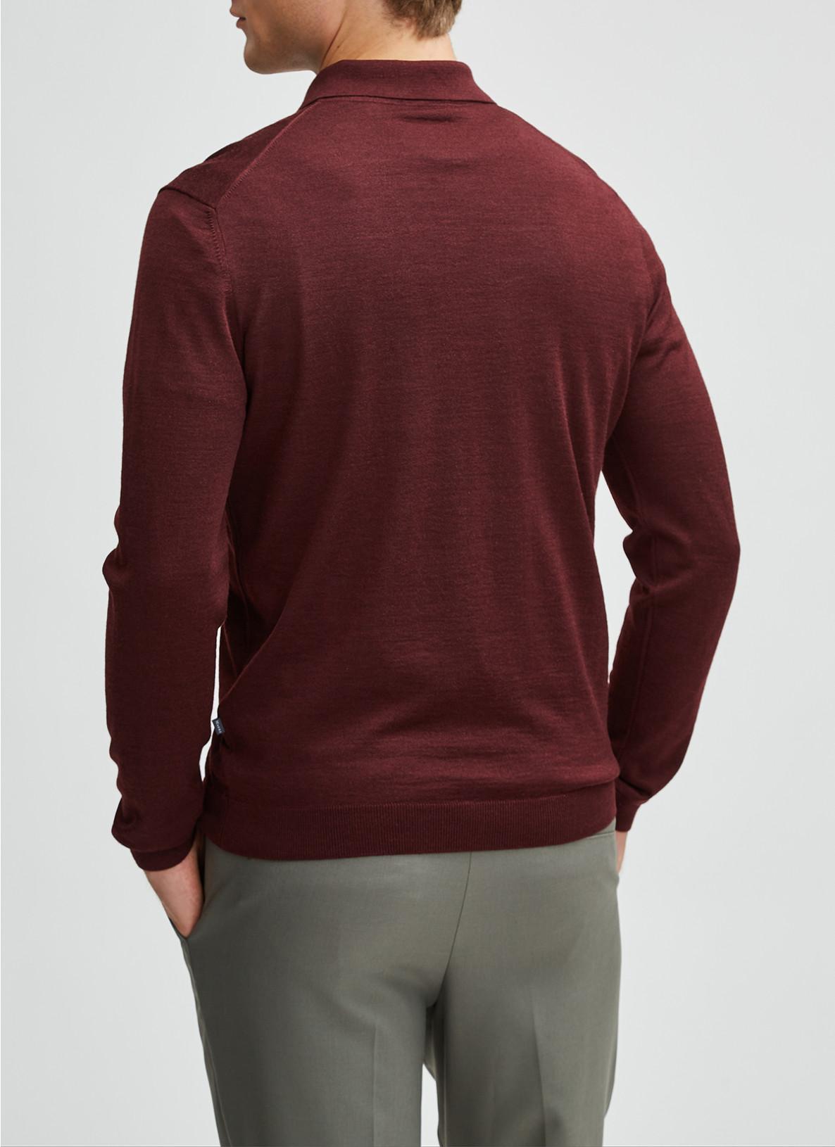 Pullover Polokragen, Knopf 1/1 Arm, Dark BerryRückansicht