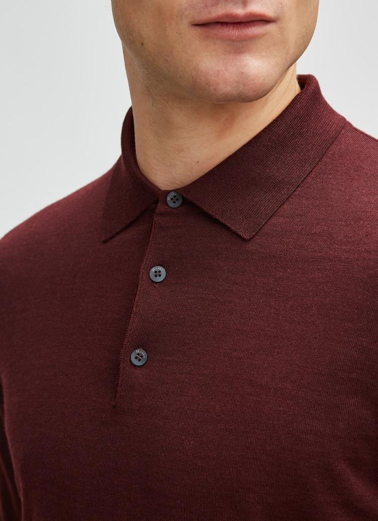 Pullover Polokragen, Knopf 1/1 Arm, Dark Berry Detailansicht 1