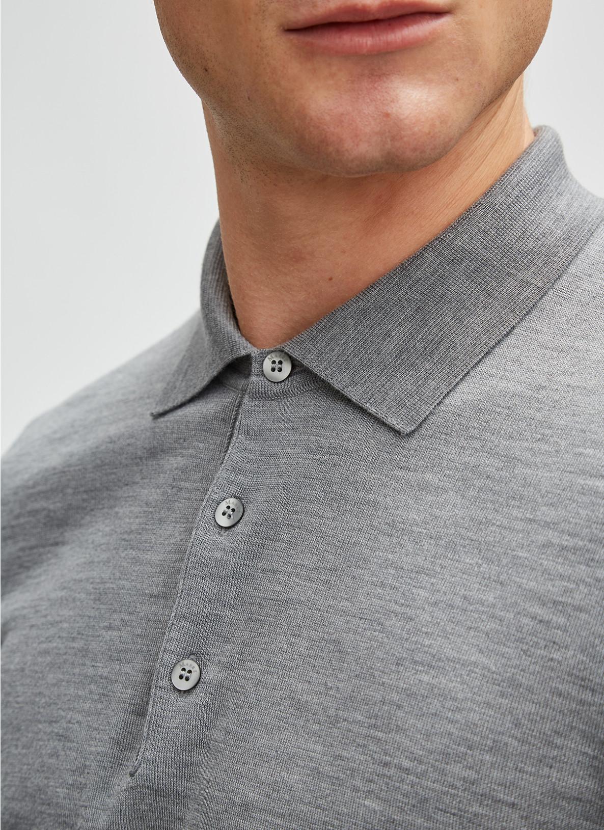 Pullover Polokragen, Knopf 1/1 Arm, Mercury GreyFrontansicht