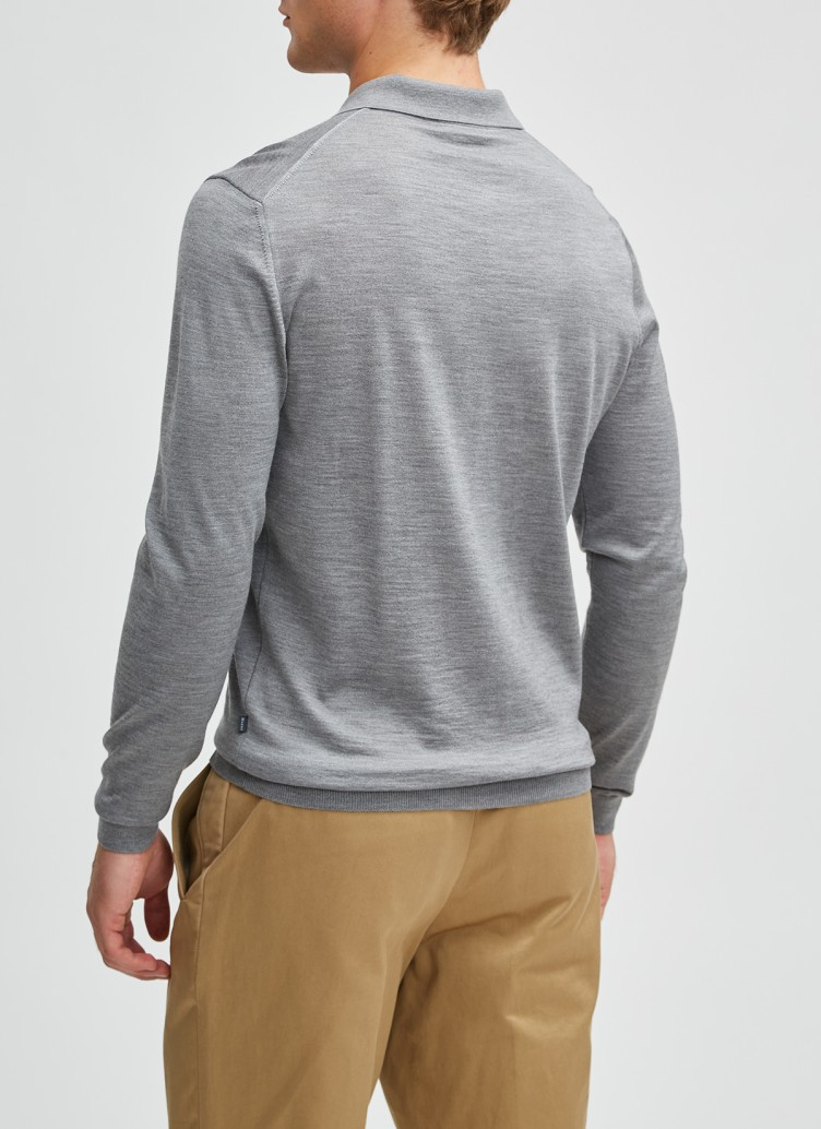 Pullover Polokragen, Knopf 1/1 Arm, Mercury Grey Rückansicht