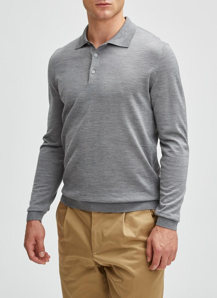 Pullover Polokragen, Knopf 1/1 Arm, Mercury Grey Detailansicht 1