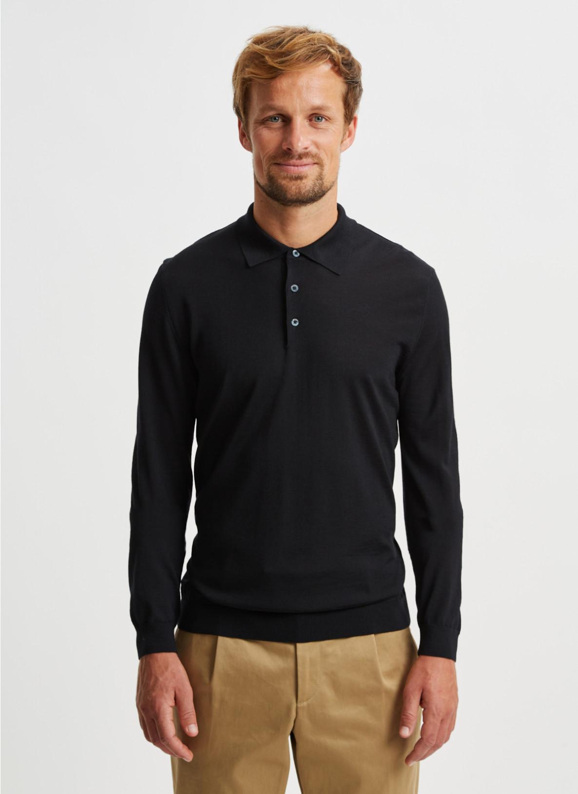 Pullover Polokragen, Knopf 1/1 Arm, BlackFrontansicht
