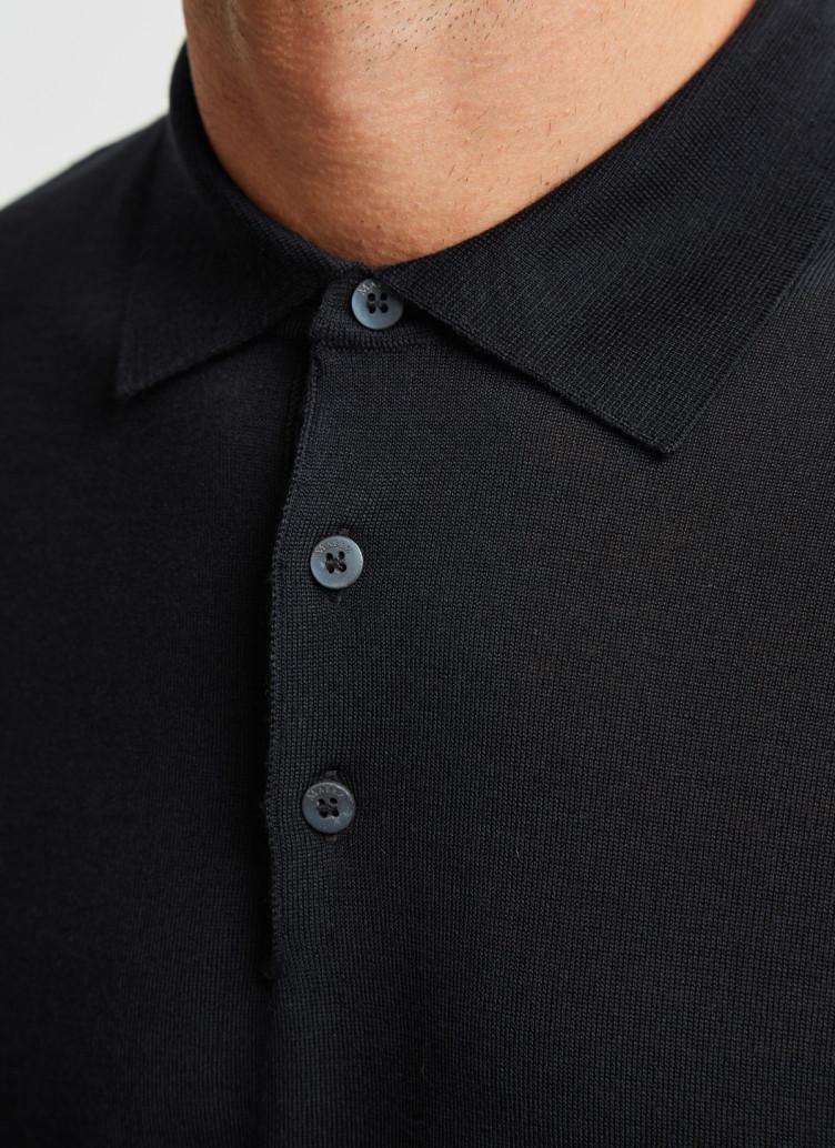 Pullover Polokragen, Knopf 1/1 Arm, Black Detailansicht 1