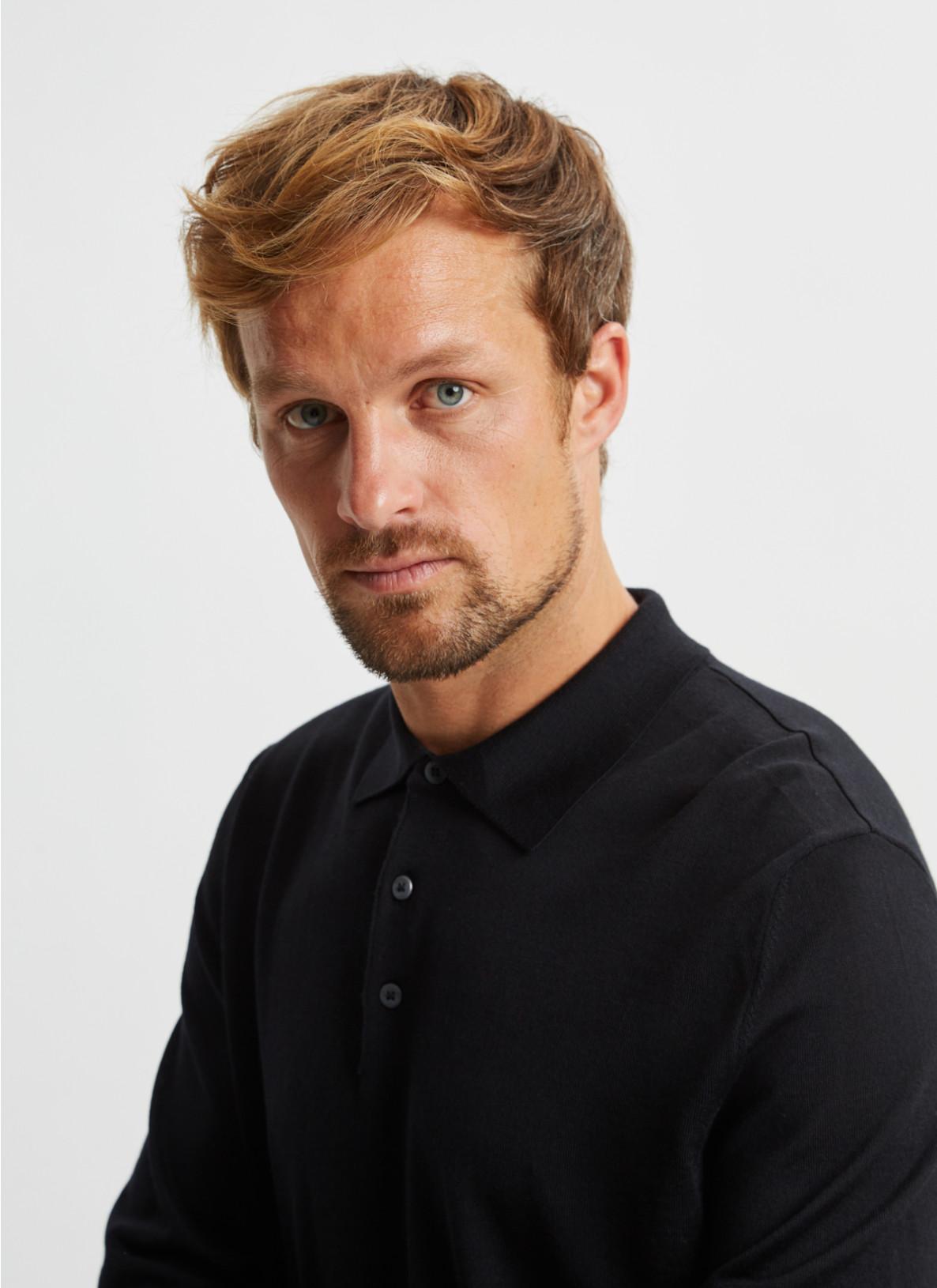 Pullover Polokragen, Knopf 1/1 Arm, BlackDetailansicht 2