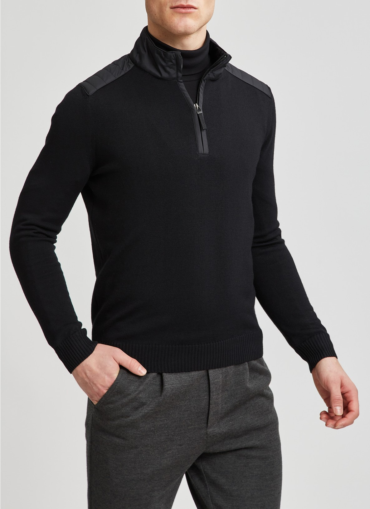 Pullover Troyer 1/1 Arm, Black Frontansicht