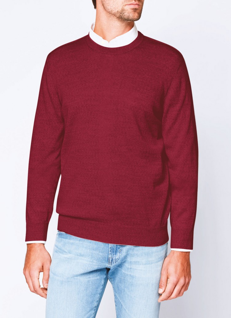 Pullover, O-Neck, Weinrot Frontansicht