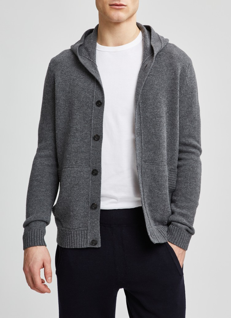Strickjacke Knopf 1/1 Arm, Charcoal Frontansicht