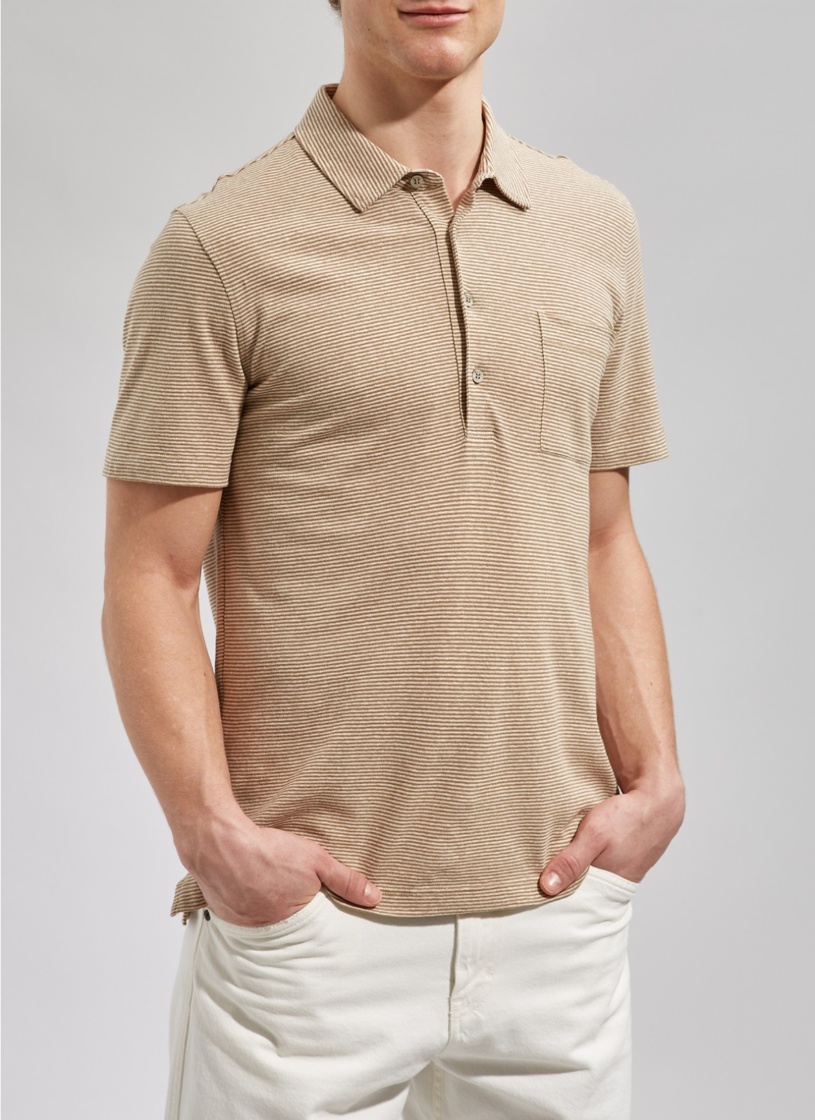 Shirt Polohemd, Knopf 1/2 Arm, New CamelFrontansicht