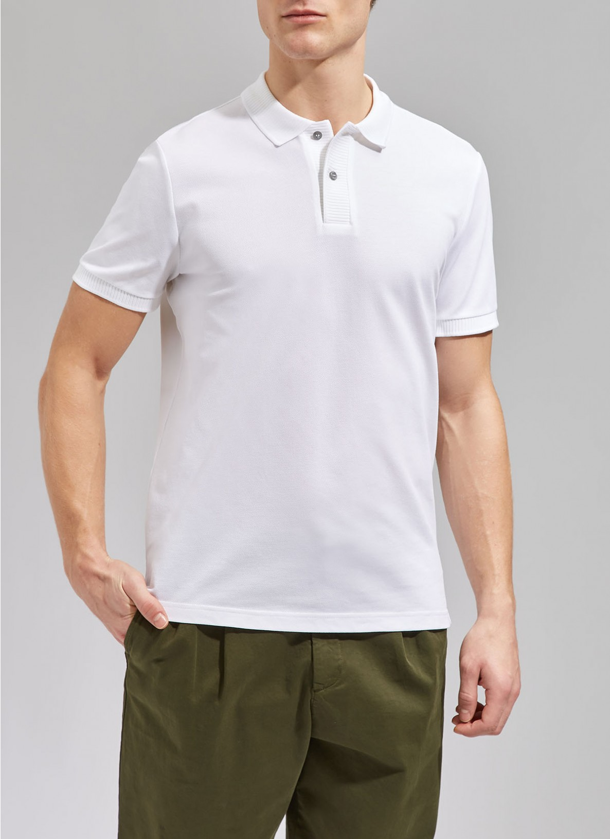Shirt Polohemd, Knopf 1/2 Arm, Pure White Frontansicht