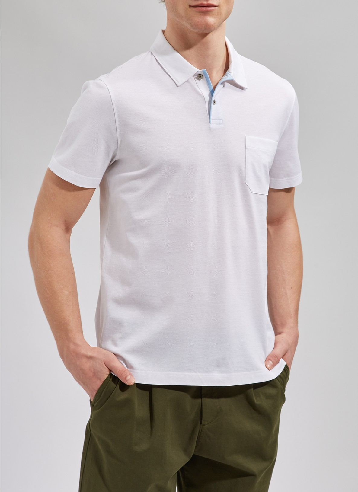 Shirt Polohemd, Knopf 1/2 Arm, Pure WhiteFrontansicht